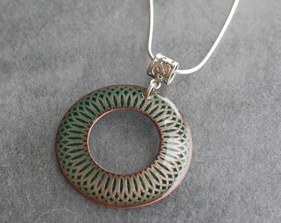Open Mandala Enamel and Sterling Silver Necklace