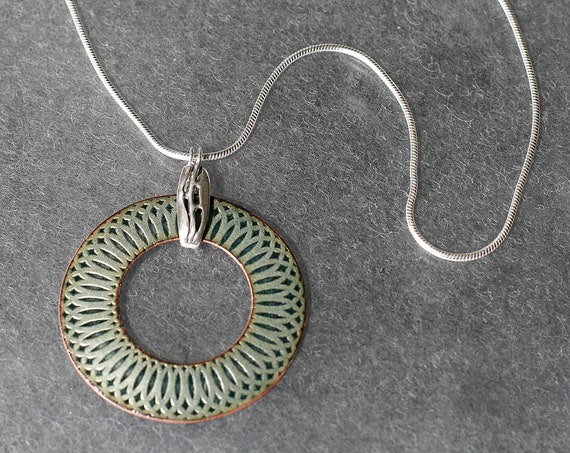 Open Mandala Enamel Necklace with Sculptural Bale