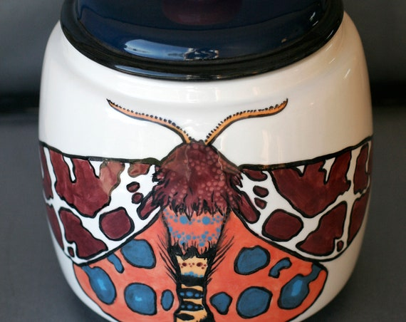 BUG OUT WARE Big Lidded Jar- Moths in Fall Fashions