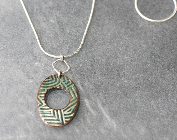 Geo Green Enamel and Stering Silver Necklace