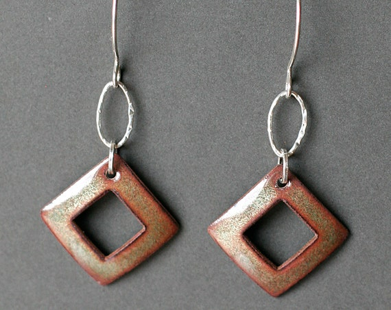 Golden Square Enamel Earrings