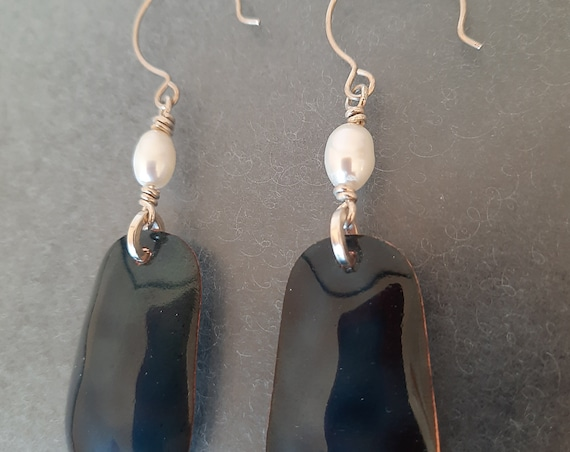 Black Enamel & Pearl Earrings