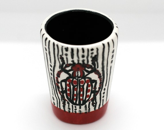 BUG OUT WARE- Signature Decorative Shot Glass: Red Hot Cutie Beetle