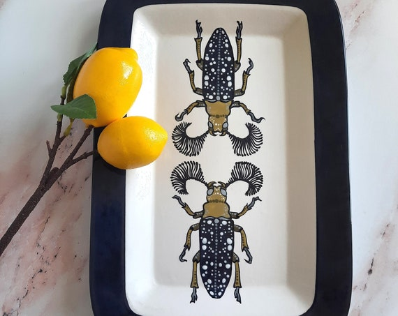 New! BUG OUT WARE Rectangle Serving Tray: Double Horned Beetles in Formalwear