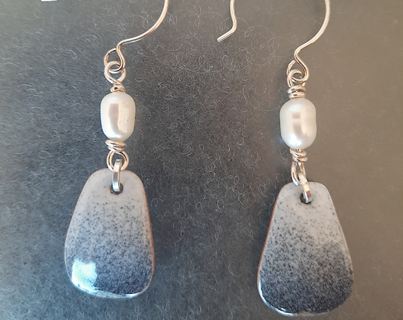 Ombre Enamel & Pearl Earrings