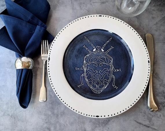 Cobalt Dream BUG OUT WARE Dinner Plate- Bianca Beetle