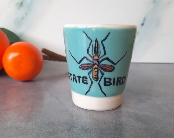 STATE BIRD 2 OZ. Shot Glass: Bright Aqua #1