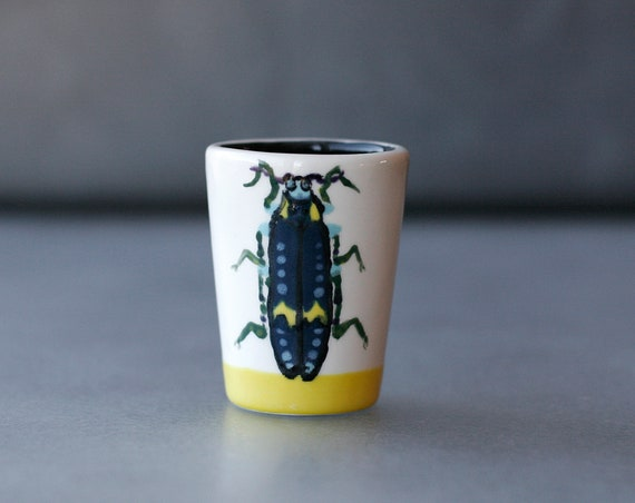 BUG OUT WARE Bonny Blue Beetle Shot Glass