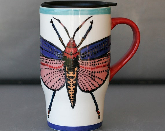 BUG OUT WARE Travel Mug with Lid: Pink Grasshopper in Formal Wear