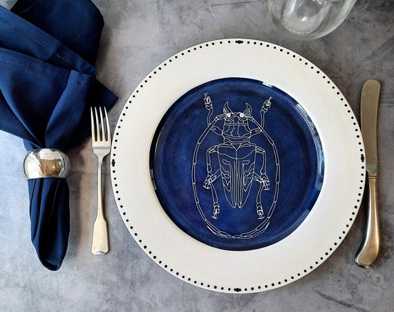 Cobalt Dream BUG OUT WARE Dinner Plate- Barry Beetle