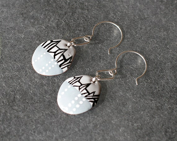 ABSTRACT ICEBERG Painted Enamel Earrings
