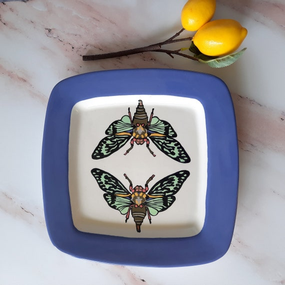 New! BUG OUT WARE Large Square Platter: Psychedelic Cicadas Have a Dinner Date