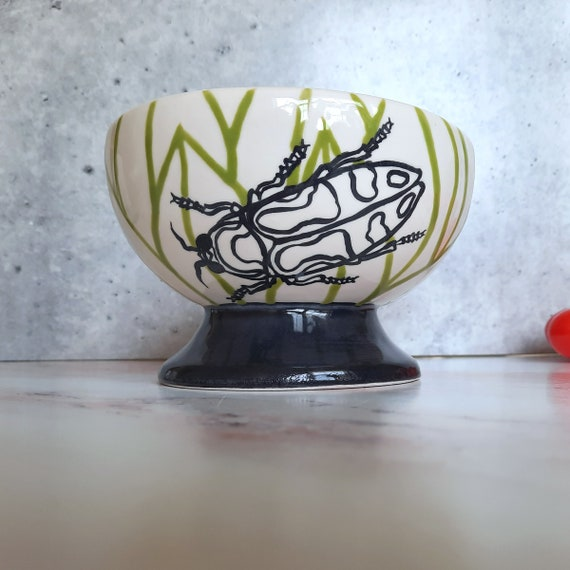 New! BUG OUT WARE Footed Bowl: Beetles are Cool Too