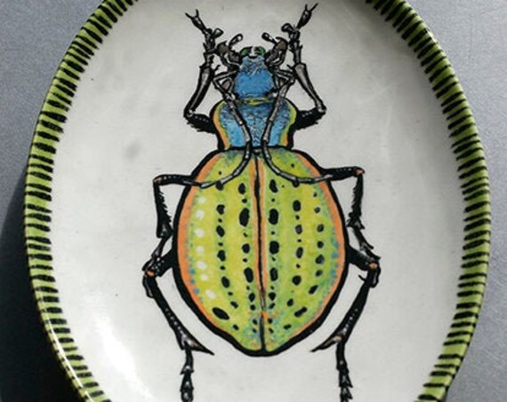 BUG OUT WARE- Neon Disco Bug Small Oval Platter