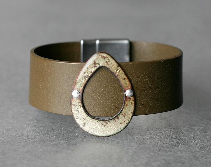 Featured listing image: Open Teardrop Basse-Taille Enamel & Leather Bracelet