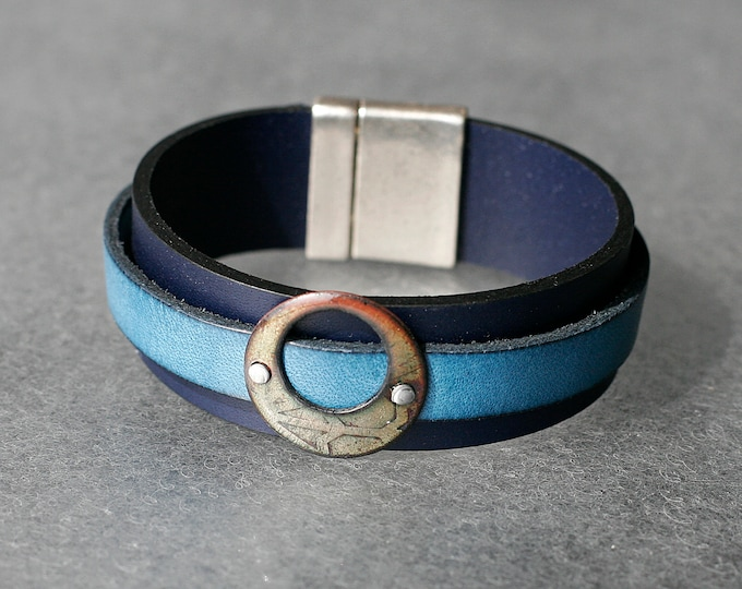 Featured listing image: Full Moon Basse-Taille Enamel and Leather Bracelet