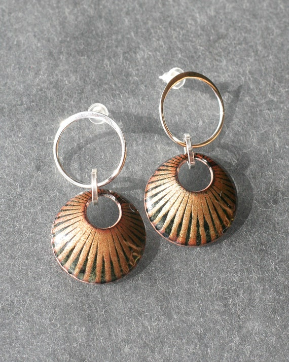 Basse Taille Enamel Golden Sunburst Earrings
