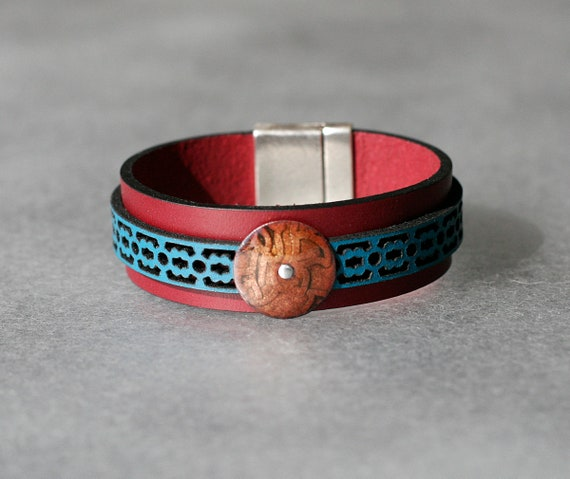 COLOR POP! Plum + Turquoise  2x Leather and Mandarin Enamel Bracelet