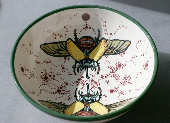 BUG OUT WARE- Winged Stag Beetle Large Serving Bowl