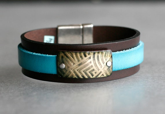 COLOR POP! Brown + Turquoise 2x Leather and Chartreuse Enamel Bracelet