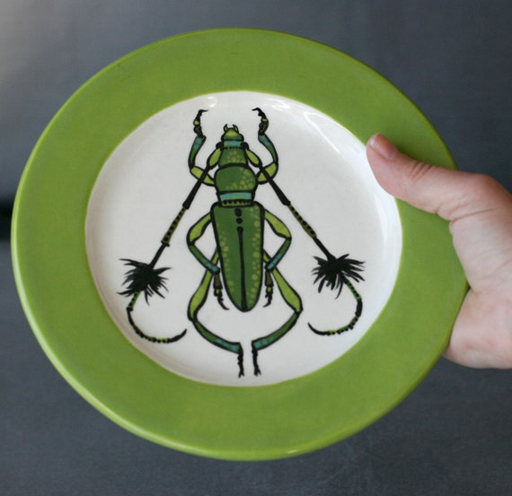BUG OUT WARE Salad Plate-Big Green Fluffy Horn