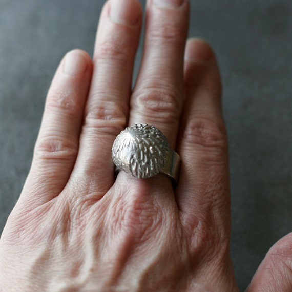 Sterling Silver Domed Blossom Ring