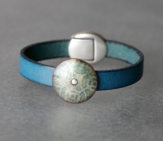Dreaming in Teal Enamel & Leather Bracelet