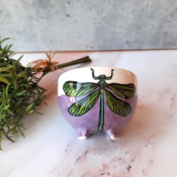 New! BUG OUT WARE Footed Teacup: Dragonfly