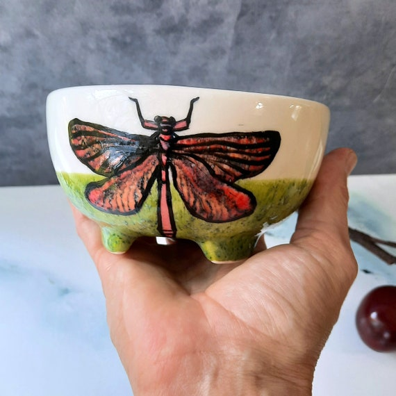 BUG OUT WARE Footed Bowl: Red Dragon Fly