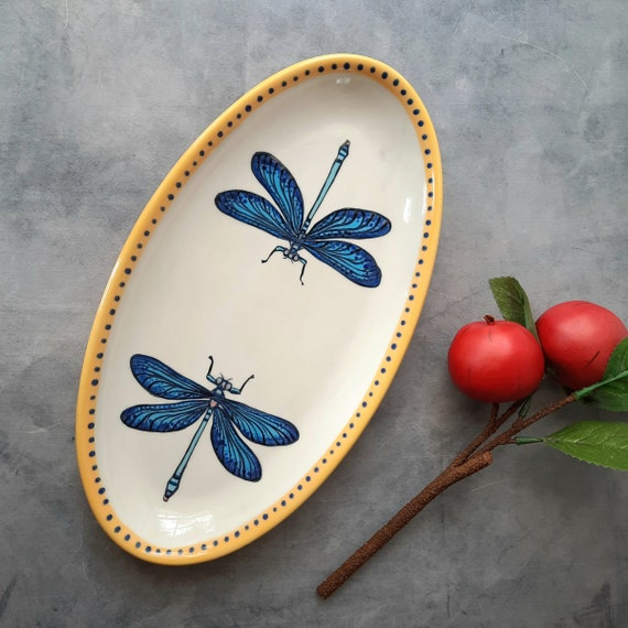 BUG OUT WARE Medium Oval Platter: Dragonflies Skydiving