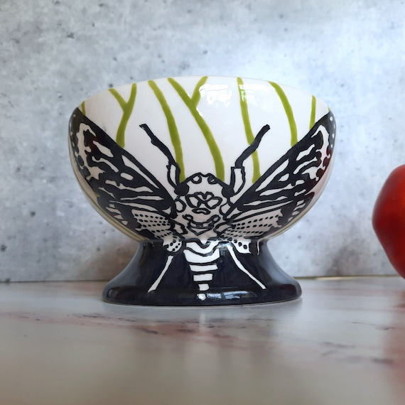 New! Cicada BUG OUT WARE Footed Bowl: Cicadas are Brood X Beautiful #2