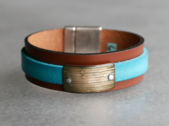 COLOR POP! Mahogany + Turquoise  2x Leather and Chartreuse Enamel Bracelet