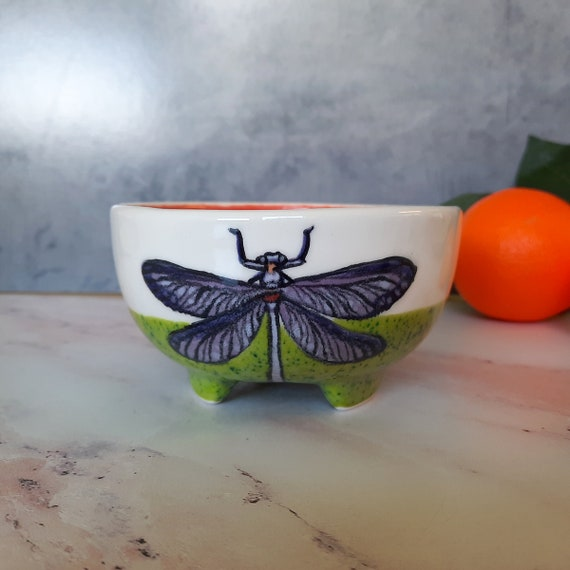 New! BUG OUT WARE Footed Guacamole Bowl: Beetles are Cool Too