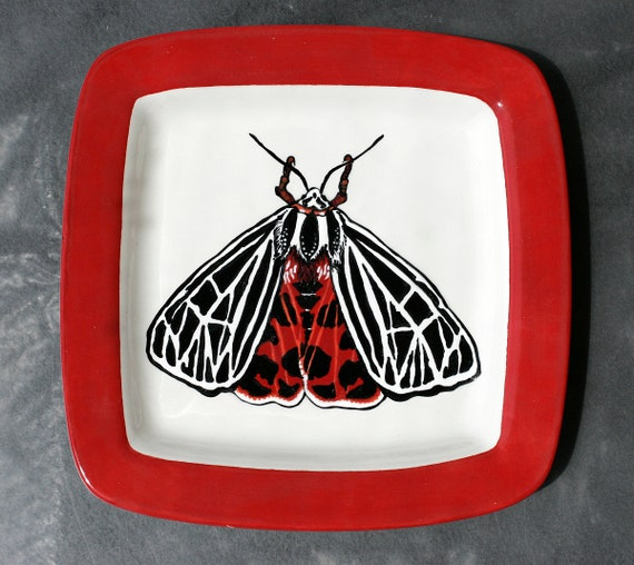 BUG OUT WARE- Square Stacking Art Plate: Red Formalwear Moth