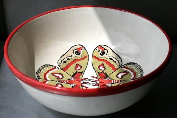 BUG OUT WARE X-Large Serving Bowl: Mothra in Formalwear