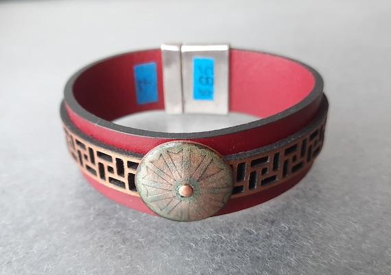 COLOR POP! Plum + Metallic Copper 2x Leather and Vermillion Enamel Bracelet