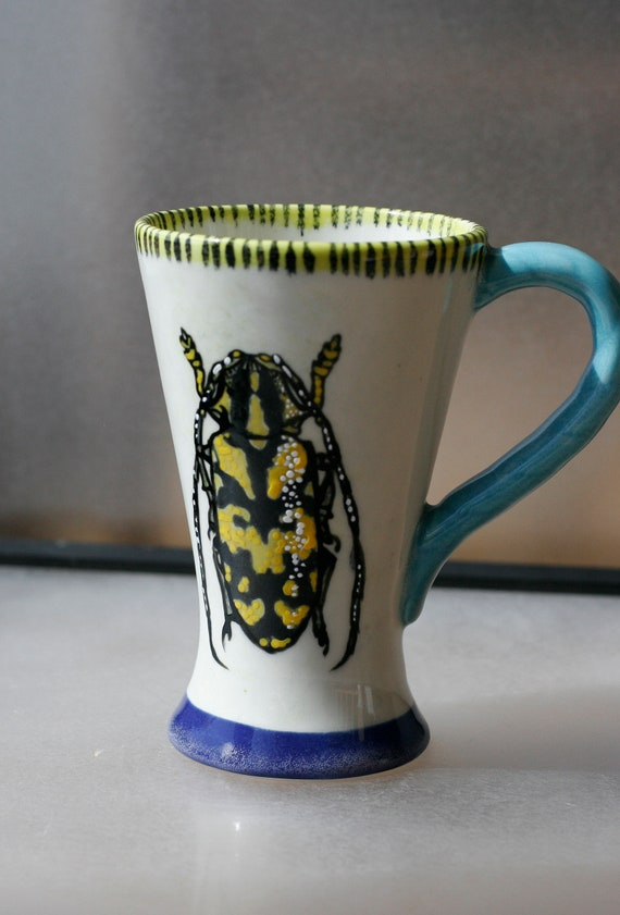 BUG OUT WARE - Hand Painted Tall Coffee Mug