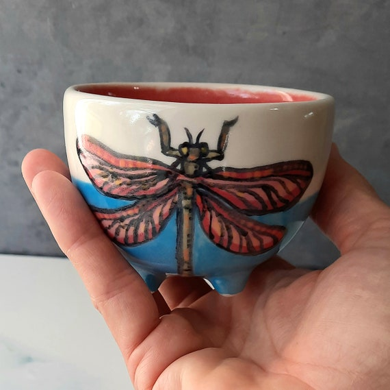 BUG OUT WARE- Blue DragonFly Footed Tea Cup