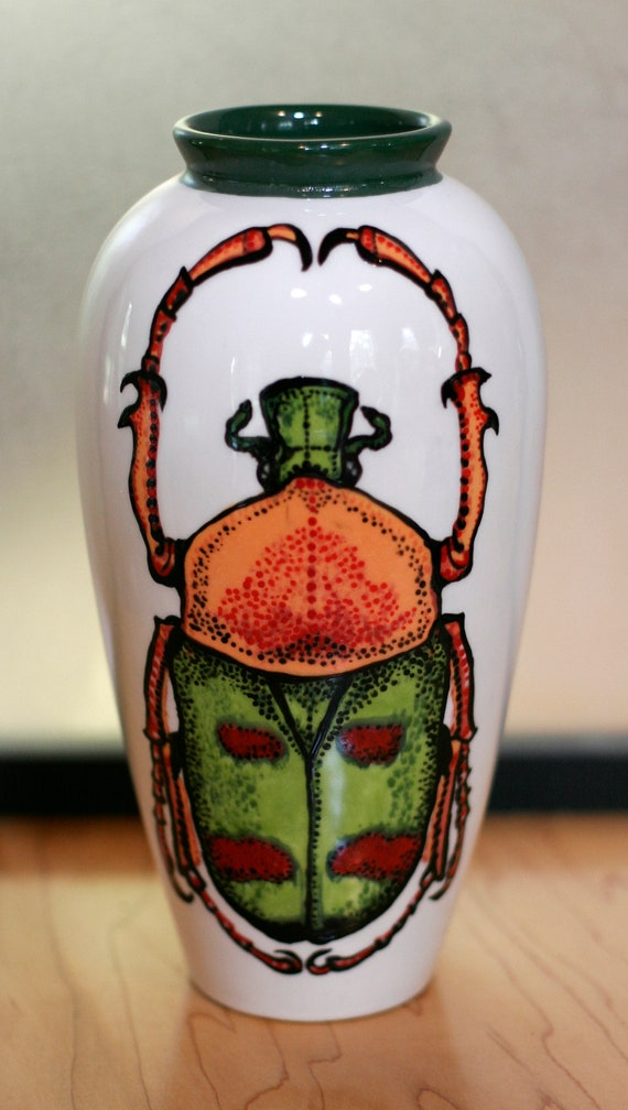 BUG OUT WARE Large Hand Painted Grecian Style Vase O&G