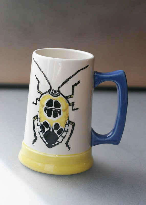 BUG OUT WARE Hand Painted Beer Stein Y&B