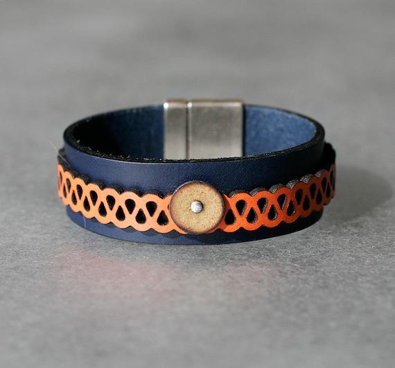 COLOR POP! Navy + Orange 2x Leather and Chartreuse Enamel Bracelet