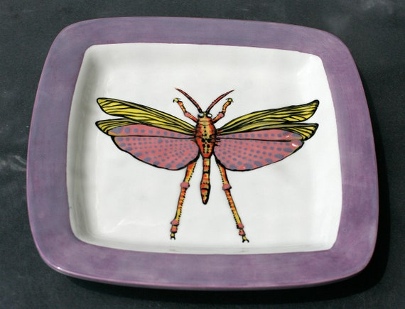 BUG OUT WARE- Square Stacking Art Plate: Pink Grasshopper
