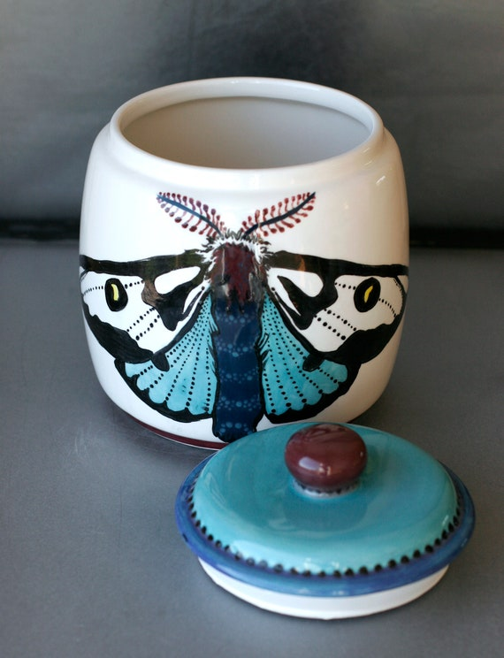 BUG OUT WARE Big Lidded Jar- Black & Blue Moths at High Tea