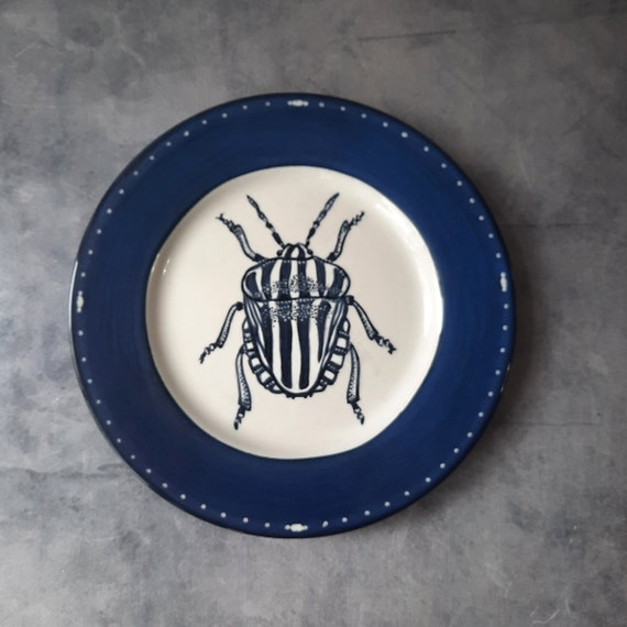 Cobalt Dream BUG OUT WARE Salad Plate- Beatrice Beetle