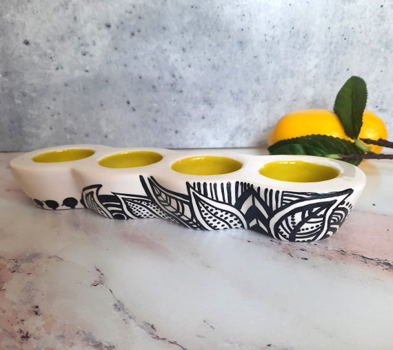 New! Quad Tea Light Candle Holder: Chartreuse Freeform #2