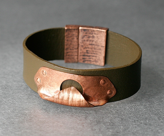 Sculptural Copper & Leather Bracelet