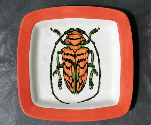 BUG OUT WARE- Square Stacking Art Plate: Orange Long Horn Beetle