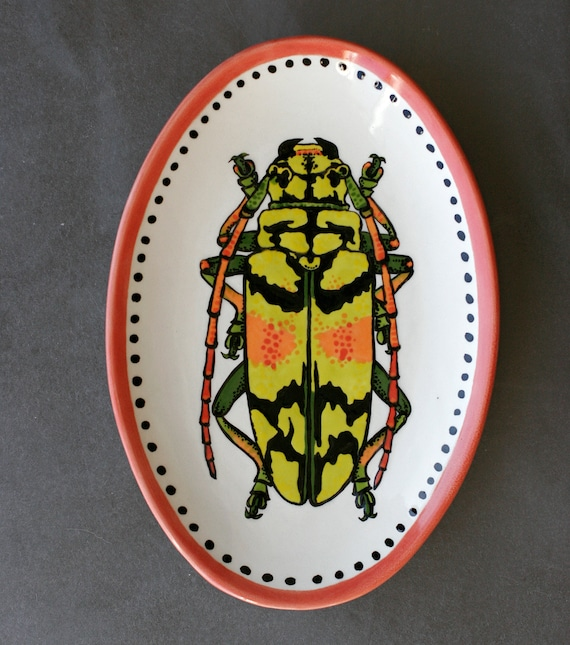 BUG OUT WARE Small Platter- Orange You Loving This Beetle!