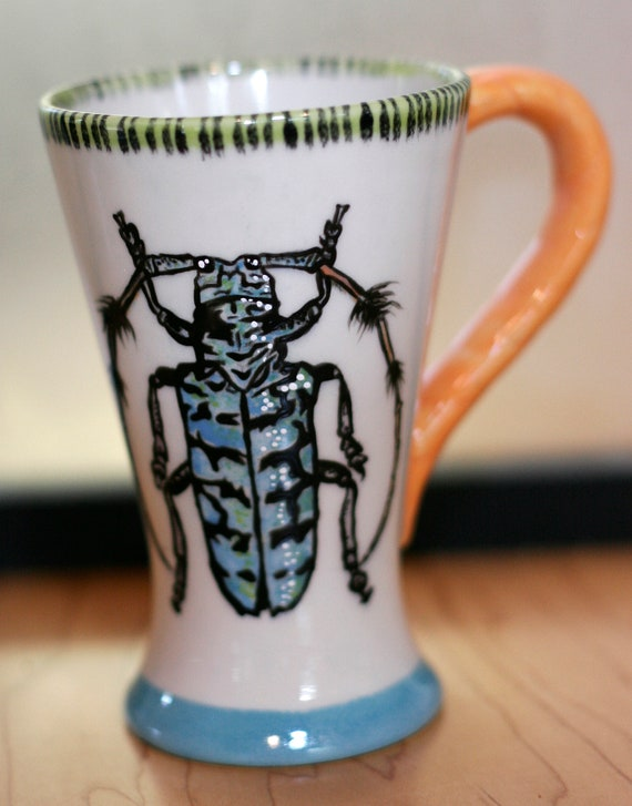 BUG OUT WARE- Hand Painted Tall Coffee Mug