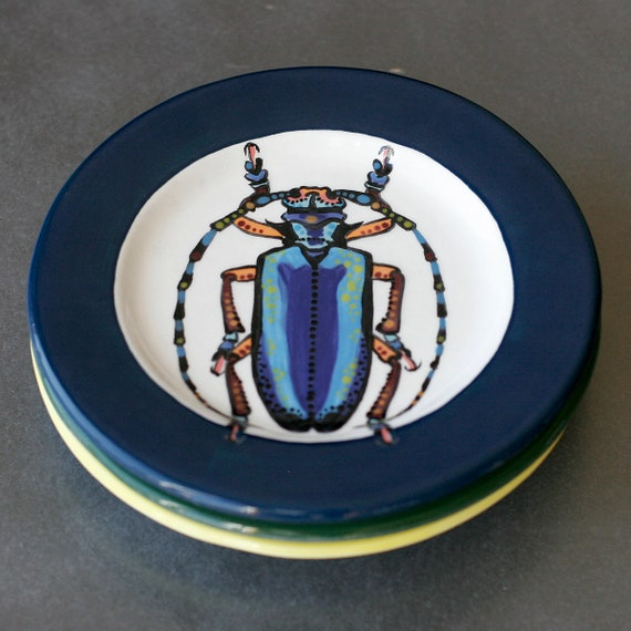 BUG OUT WARE Salad Plate-Blue Bayou Horned Beetle